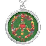 Veggie Peace Sign Round Pendant Necklace