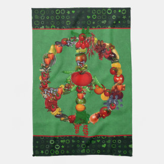 Veggie Peace Sign Tea Towel