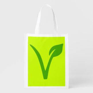 veggie vegetarian vegan symbol reusable grocery bags