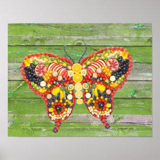 veggieart butterfly green wood poster