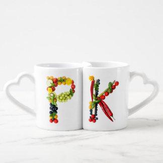 VeggieArt initial Letters Coffee Mug Set