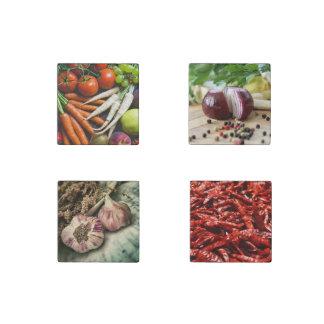 Veggies OR YOUR PHOTOS stone magnet set