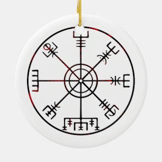 Vegvisir Icelandic Protective Runes Round Ceramic Decoration