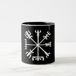 Vegvísir (Viking Compass) Two-Tone Coffee Mug