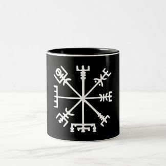 Vegvísir (Viking Compass) Two-Tone Coffee Mug