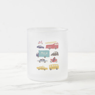Vehicles Frosted Glass Coffee Mug