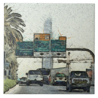 Vehicles on a road in Dubai Large Square Tile