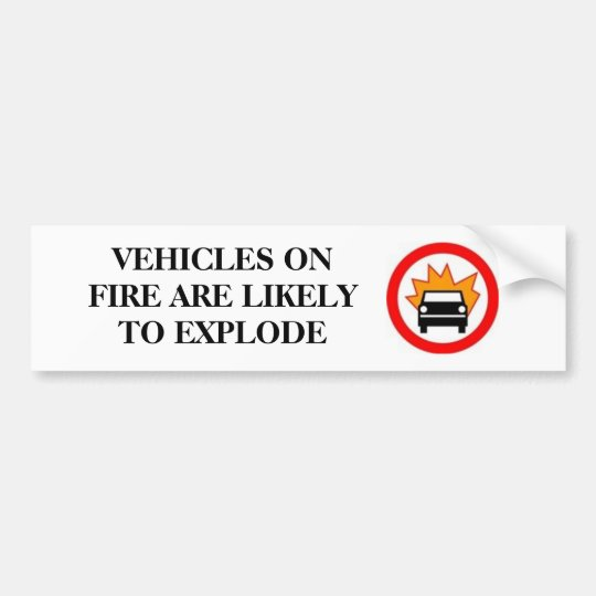 VEHICLES ON FIRE BUMPER STICKER