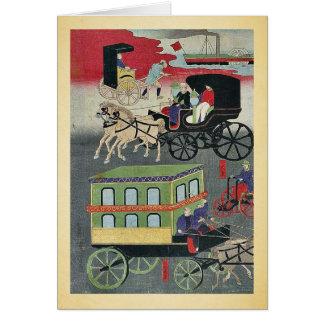 Vehicular traffic in Tokyo by Utagawa, Yoshitora Greeting Card