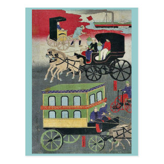 Vehicular traffic in Tokyo by Utagawa, Yoshitora Post Cards