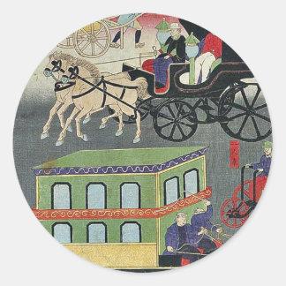Vehicular traffic in Tokyo by Utagawa Yoshitora Round Sticker