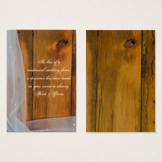 Veil and Barn Wood Country Wedding Charity Favor Business Card