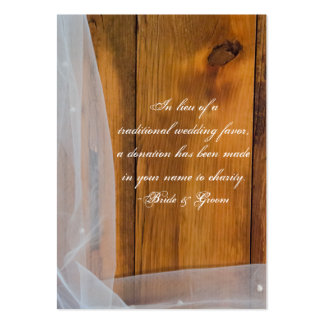 Veil and Barn Wood Country Wedding Charity Favor Pack Of Chubby Business Cards