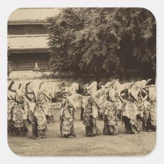 Veiled dancers at Mandalay, Burma Square Sticker