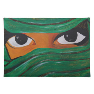 Veiled woman in dark green placemat