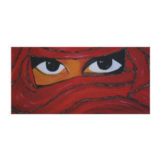 veiled woman in talk canvas print