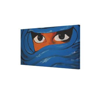 Veiled woman into blue canvas print