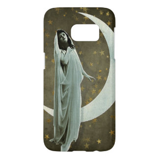 Veiled Woman Starry Night and Crescent Moon