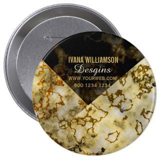 Veining Marbleized Cracked Gold Professional 10 Cm Round Badge