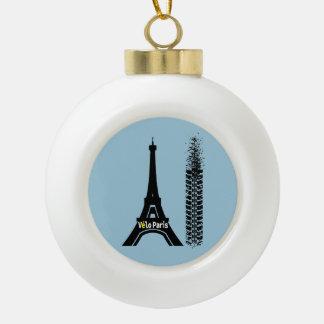 Velo Paris Bike Eiffel Tower Ceramic Ball Decoration