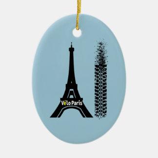 Velo Paris Bike Eiffel Tower Ceramic Oval Decoration