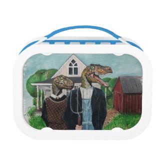 Velociraptor American Gothic Lunch Box