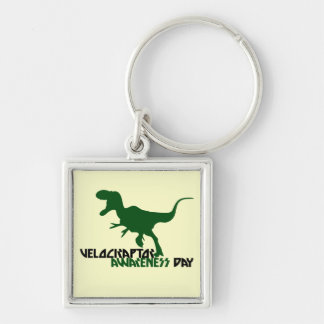 Velociraptor Awareness Day Silver-Colored Square Key Ring