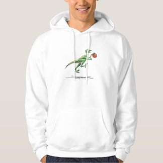 velociraptor cartoon dinosaur with basketball hoodie