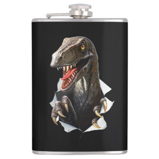 Velociraptor Dinosaur 8 oz Vinyl Wrapped Flask