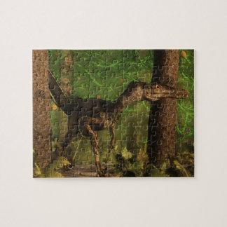 Velociraptor dinosaur in the forest jigsaw puzzle