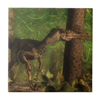 Velociraptor dinosaur in the forest small square tile