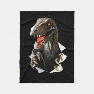 Velociraptor in Space Small Fleece Blanket