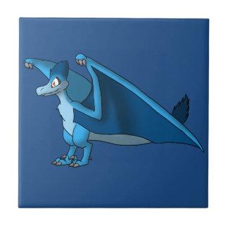 Velociraptor/Quetzalcoatlus Hybrid - Blue Small Square Tile