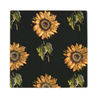 Velours au Sabre silk decoration of Sunflowers Maple Wood Coaster