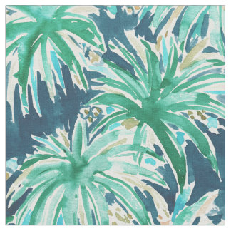 VELVET JUNGLE Tropical Leaves Watercolor Pattern Fabric