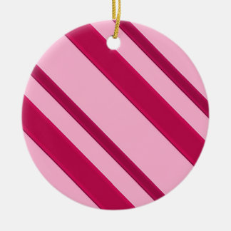 Velvet ribbon stripes, fuchsia and pale pink round ceramic decoration