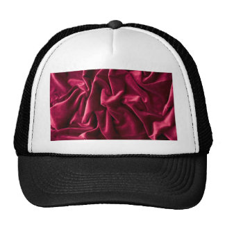 velvet vintage chic red pink cafe style textile trucker hat