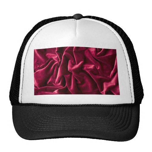 velvet vintage chic red pink cafe style textile mesh hat