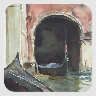 Venetian Canal  by John Singer Sargent Square Sticker