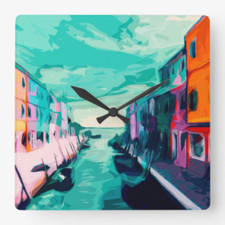 Venetian Canal Square Wall Clock