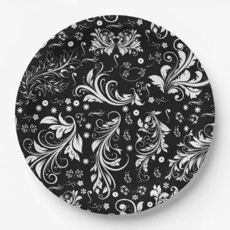 Venetian Damask, Damask Pattern - Black White Paper Plate