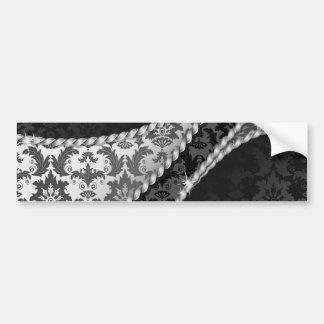Venetian Damask, Ornaments, Swirls - Black White Bumper Stickers
