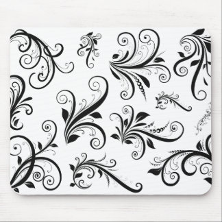 Venetian Damask, Ornaments, Swirls - Black White Mousepad