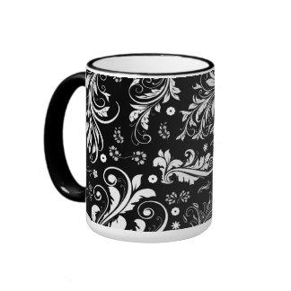 Venetian Damask Ornaments Swirls - Black White Mugs