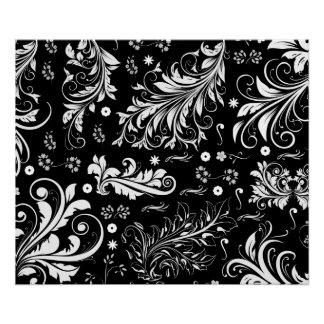Venetian Damask, Ornaments, Swirls - Black White Poster