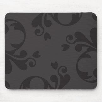 Venetian Damask, Ornaments, Swirls - Gray Black Mouse Pad