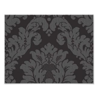 Venetian Damask, Ornaments, Swirls - Gray Black Art Photo