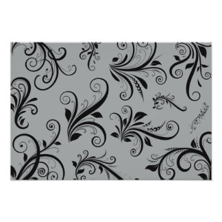 Venetian Damask, Ornaments, Swirls - Gray Black Photo Print