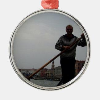 Venetian Gondalier Silver-Colored Round Decoration