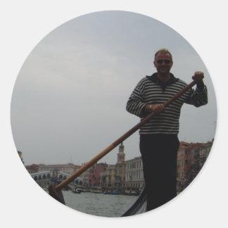 Venetian Gondalier Round Sticker